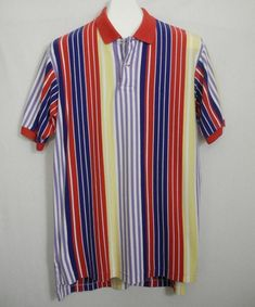 94627b0863 Vtg Polo Ralph Lauren Shirt Striped Colorblock Blue Red Yellow Purple Large  #PoloRalphLauren #PoloRugby