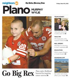 03/16: Plano Senior High alum Rex Burkhead finds friend, inspiration in 6-year-old cancer survivor Jack Hoffman. http://www.neighborsgo.com/stories/80963