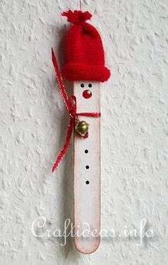 Christmas Craft Idea for Kids - Craft Stick Winter Snowman 2