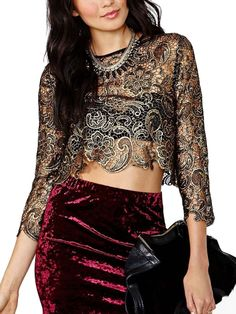 Palace Style Hollow Out Round Collar Lace Blouse Black