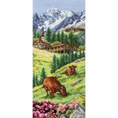 Borduurpakket van de Zwitserse Alpen.