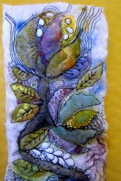 gorgeous textile art-try inktense Thread Art, Thread Painting, Fabric Painting, Fabric Art, Felt Fabric, Textile Fiber Art, Textile Artists, Fiber Art Quilts, Nuno Felting
