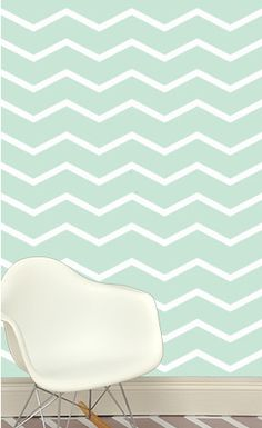 Wide Chevron Removable Wall Paper, Mint