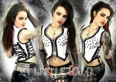 White leatherette studded lace up vest top by My Little Halo
