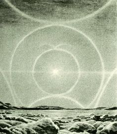 """Complete Solar Halo"" from the Larousse Encyclopedia by Lucien Rudaux, 1959"