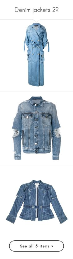 """Denim jackets 2💙"" by ms-hinds ❤ liked on Polyvore featuring outerwear, coats, balmain, blue, double breasted coat, oversized coat, balmain coat, blue double breasted coat, men's fashion and men's clothing"
