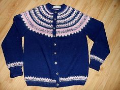 Handknit Norway Navy Pink white sweater Pewter buttons 100% Wool -mothproof