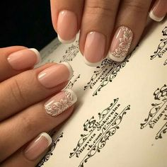 Wedding Nails-A Guide To The Perfect Manicure – NaiLovely French Nails, Ongles Gel French, French Manicure Nails, Gel Nails, Bride Nails, Prom Nails, Cute Nails, Pretty Nails, Bridal Nail Art