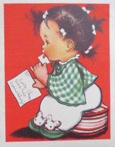 Eva Harta Xmas Greeting Card Little Girl Licking Stamps