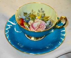AYNSLEY SIGNED JA BAILEY TURQUOISE AQUA BLUE TEA CUP AND SAUCER