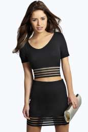 Petite Maisy Sheer Striped Banded Crop Top Set