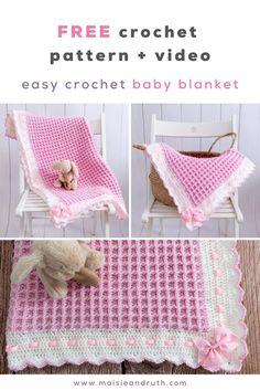 Crochet Baby Blanket Tutorial, Crochet Baby Blanket Free Pattern, Newborn Crochet Patterns, Crochet For Beginners Blanket, Baby Afghan Crochet, Easy Crochet, Free Crochet, Baby Patterns, Crochet Ideas