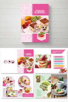 Fresh fashion cake dessert picture Brochure#pikbest#Templates #bakery #cake #brochure #typography #portfolio #layout #ideas #design Booklet Layout, Brochure Layout, Layout Template, Brochure Design, Brochure Template, Templates, Book Layouts, Dessert Book, Page Layout Design