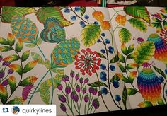 Fantástico #Repost @quirkylines ・・・ done. i really like how this #coloring challenges my mind. i have to let go and accept the errors i make, and push through and make a decision when i'm stuck. #milliemarotta #colors #staedtler #triplusfineliner