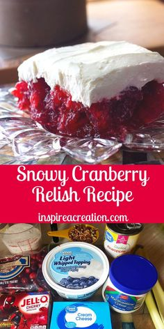 Snowy Cranberry Relish Recipe is a twist on the traditional recipe How easy this one is with the cherry jello and cream cheese and marshmallow topping The holidays will n. Jello Desserts, Jello Recipes, Dessert Salads, Christmas Desserts, Christmas Baking, Just Desserts, Dessert Recipes, Cookie Recipes, Cranberry Salad Recipes