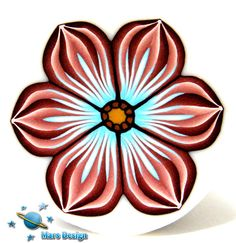 Polymer clay cane BROWN SOFT BLUE flower  cane by by marsdesign,
