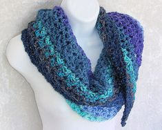 Shawlette, crocheted in Pretty Blue-Green Color Stripes cozy acrylic yarn with sparkle accents Crochet Round, Bead Crochet, Green Colors, Blue Green, Light Scarves, Metallic Thread, Knitted Bags, Color Stripes, Shades Of Blue