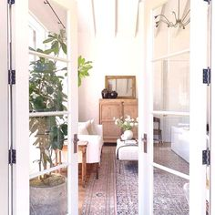 French doors are perfect for creating an inviting entrance to a rYou can find Modern bedroom and more on our website.French doors are perfe. Boudoir, Spanish Home Decor, Amber Interiors, Living Room Interior, Living Rooms, Living Spaces, Inspired Homes, Modern Bedroom, Master Bedroom
