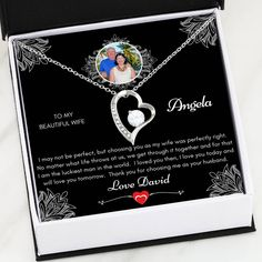 TO MY WIFE - I May Not Be Perfect - Personalized Necklace Gift With Custom Message Card - Standard Box