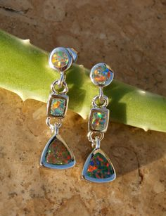 Fire Opal Earrings, gorgeous Red and Blue Fire Opals set in Sterling Silver Posts by AleaMariCo $47 + Free shipping