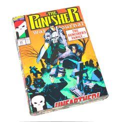 (http://www.papervsglue.com/the-punisher-war-journal-box/)  Vintage Punisher Comic Book Collage Cigar Box