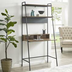 Union Rustic Pettit Metal and Wood Ladder Desk Color: Reclaimed Barnwood Leaning Desk, Leaning Ladder, Ladder Desk, Bookshelf Desk, Wood Ladder, Etagere Bookcase, Sideboard, Diy Computer Desk, Floor Shelf