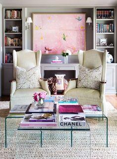 Amazing And Cute Feminine Living Rooms Decor Ideas — Home Design Ideas Family Room Colors, Family Room Design, Family Rooms, My Living Room, Living Room Decor, Living Spaces, Home Design, Interior Design, Design Web