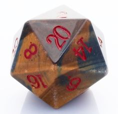 Giant d20 (Tiger Eye) | 25mm RPG Role Playing Game Die