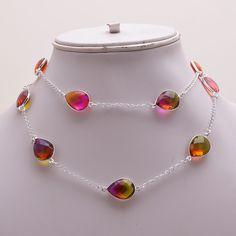 Faceted Multi Tourmaline Quartz .925 Silver Handmade Neck chain Jewelry R1854…
