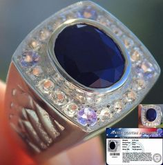 Rare 9.70 cts Genuine Blue Sapphire,Tanzanite & W.Topaz Ring Solid 925 S#7.5…