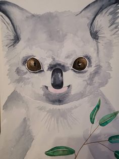 Little koala #Watercolor Watercolor, Fine Art, Drawings, Fictional Characters, Watercolor Painting, Pen And Wash, Watercolour, Sketches, Drawing