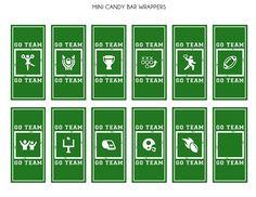 Football mini candy bar wrappers #freeprintables #football