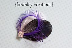 ADA 2 -- Purple Peacock, White and Black Feather Fascinator Wedding Headpiece Hair Clip with Rhinestone -- Great for Bridesmaids