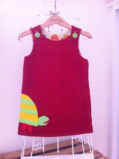 Reversible Dress, girls pinafore, retro style, shift dress, 2 in 1, chintzy, funky, turtle, design, baby cord, poplin, beadies by jo by beadiesbyjo on Etsy