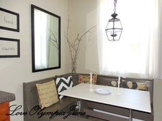 Painted Kitchen Nook Table With DIY Pillows
