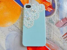 Pearl Lace flash shell blue iphone 4 Hard Case Cover For Apple iPhone 4,4S ,iPhone 4 Case, iPhone 4s Case, iPhone 4 Hard Case,  case-074
