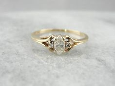 Vintage Marquise Cut Diamond Ring in Yellow Gold by MSJewelers