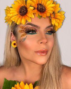 Mais uma dessa produção !!!! #girassol 🌻 Rave Makeup, Glam Makeup, Pretty Makeup, Makeup Inspo, Bridal Makeup, Makeup Inspiration, Beauty Makeup, Make Carnaval, Cute Halloween Makeup