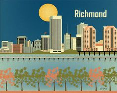 Richmond, Virginia Skyline Poster Print Gift - Horizontal - Wall Art for Home, Office, and Nursery  - style E8-O-RIC