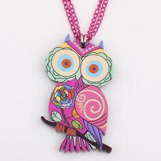 Owl Necklace Acrylic News Accessories Unique Design (9 Variants)