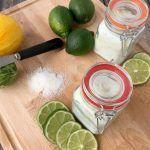 DIY Citrus Mint Epsom Salt Foot Soak For Tired Feet + Pedicure Basket Gift Idea! #EpsomSaltCleanse Pedicure Soak, Diy Pedicure, Diy Face Scrub, Diy Scrub, Epsom Salt For Hair, Salt Hair, Epsom Salt Cleanse, Epsom Salt Foot Soak, Bath Salts Recipe