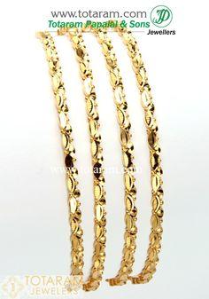 <br /> 22 Karat Fine Gold Bangles - Set of 4 Pair) <br /> Gold Weight: grams <br /> Width : mm<br /> <br /> <br /> <br /> <br /> <br /> Internal Referance Code: Gold Bangles For Women, Gold Bangles Design, Gold Bracelets, Gold Jewelry, Jewellery, Bridal Jewelry, Women Jewelry, Bangle Set, Jewels