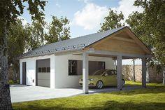 Projekt garażu G239 - Budynek garażowo - gospodarczy 56,5 m2 - koszt budowy - EXTRADOM Barn Garage, Shed, Cottage, Outdoor Structures, Outdoor Decor, House, Porches, Design, Home Decor
