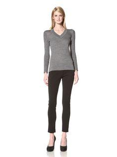 63% OFF 10 CROSBY Women's Merino Wool V-Neck Sweater (Grey)