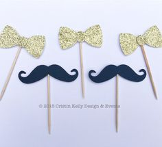 12 Black Mustache & Gold Glitter Bow Tie Cupcake Toppers. Bridal Shower…