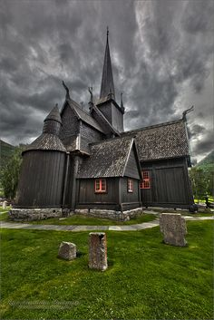 "Borgund Stavkirke, Norway, by Kurt Muetterties | angioman1: Built sometime 1180-1250 CE (12thcentury). Its walls are vertical wooden boards, or staves, hence the name ""stave church"" (stavkirke). Several runic inscriptions are found on the walls of the church. One reads: ""Tor wrote these runes in the evening at the St. Olav's Mass"", and another reads ""Ave Maria"". These can be found at the west portal of the church. [Please keep photo credit and original link if repinning. Thanks!]"