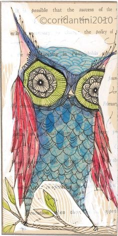 whimsical watercolor folk painting of a blue owl print - perdita -5 x 10 inches - limited edition and Archival by cori dantini.