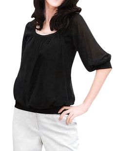 This Casual Tee Half Sleeve Top for women is a scoop neck, patchwork and a semi sheer Sleeve. You will love this top also because it is stretchy and has a pleated neckline. -Half Semi Sheer Sleeves.   eBay!