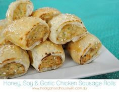 Honey, Soy and Garlic Chicken Sausage Rolls Recipe Type: Lunchbox Chicken Author: Katrina Prep time: 30 mins Cook time: 25 mins Total time: Chicken Sausage Rolls, Healthy Sausage Rolls, Lunch Box Recipes, Lunchbox Ideas, Garlic Chicken, Chicken Eggs, Soy Chicken, Appetisers, Organised Housewife