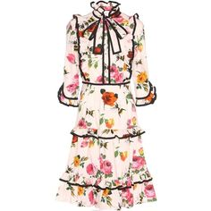 Gucci Ruffled Floral-Printed Cotton Dress ($2,600) ❤ liked on Polyvore featuring dresses, gucci, white, frilly dresses, colorful dresses, floral dress, flounce dress and pink frilly dress